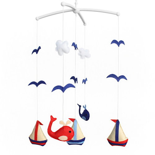 Wind-up Crib Mobile, Baby Hanging Toys, [Seagulls and Voyage] Handmade