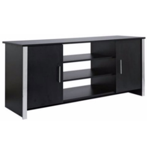 COLUMN - Modern Sideboard / Storage Cupboard / Display Unit - Black Ash / Chrome