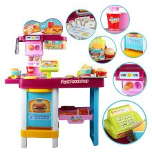 deAO Fast Food and Ice-Cream Shop Stand Kitchen Playset 2in1 - RC Touch Panel, Music, Lights and Accessories