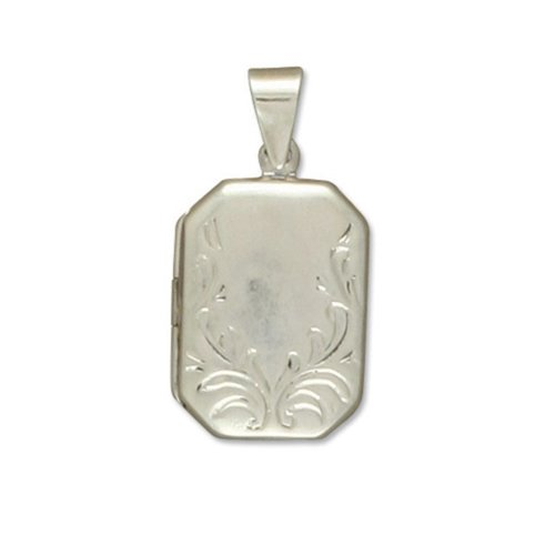 Childrens Sterling Silver Embossed Fancy Oblong Locket On A Curb Necklace