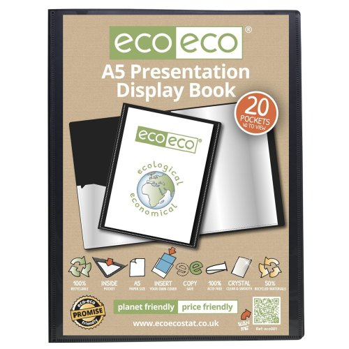 96 x A5 Recycled 20 Pocket(40 Views) Presentation Display Book - Black