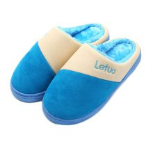 Mens Warm & Cozy  Indoor Plush House Slipper, Bright Blue