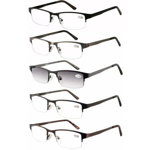 c2b88338a1 Amcedar Metal Half-Frame Reading Glasses Men 5-Pack Spring Hinges Stainless  Steel Material Sun Readers 2.00 on OnBuy