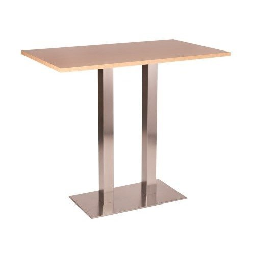 Daniella Stainless Steel Tall Poseur Table - Twin Base Oblong Various Top Sizes and Colours Oak 500 X 1000 Made to Measure(+30)  Single Column
