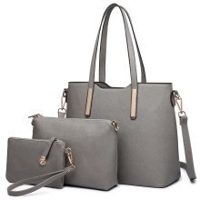 (Grey) 3pc Miss Lulu Women's PU  Leather Handbag Set
