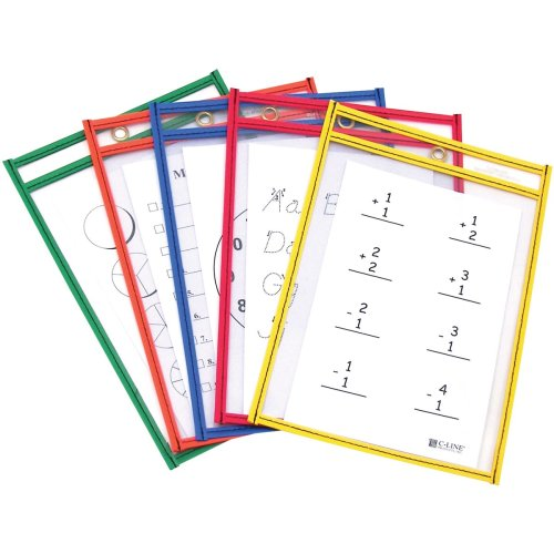 """Reusable Dry Erase Pockets 6""""X9"""" 10/Pkg-Assorted Primary Colors"""