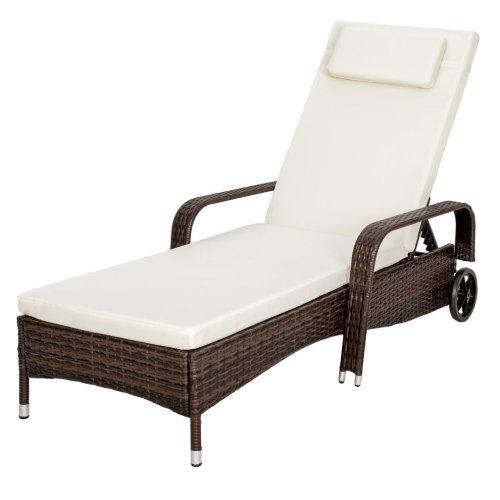 TecTake Rattan Sun Lounger - Brown   Rattan Sun Lounger With Wheels