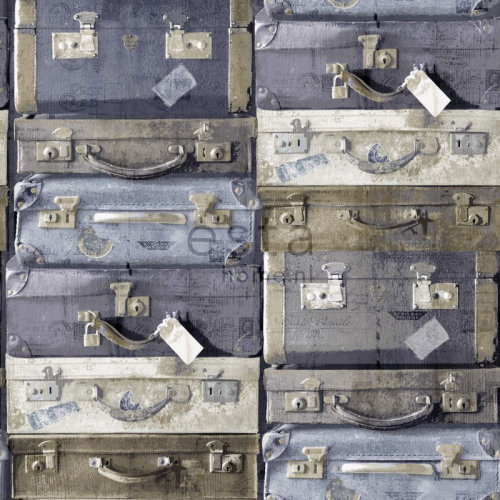 wallpaper vintage suitcases blue and brown - 138215