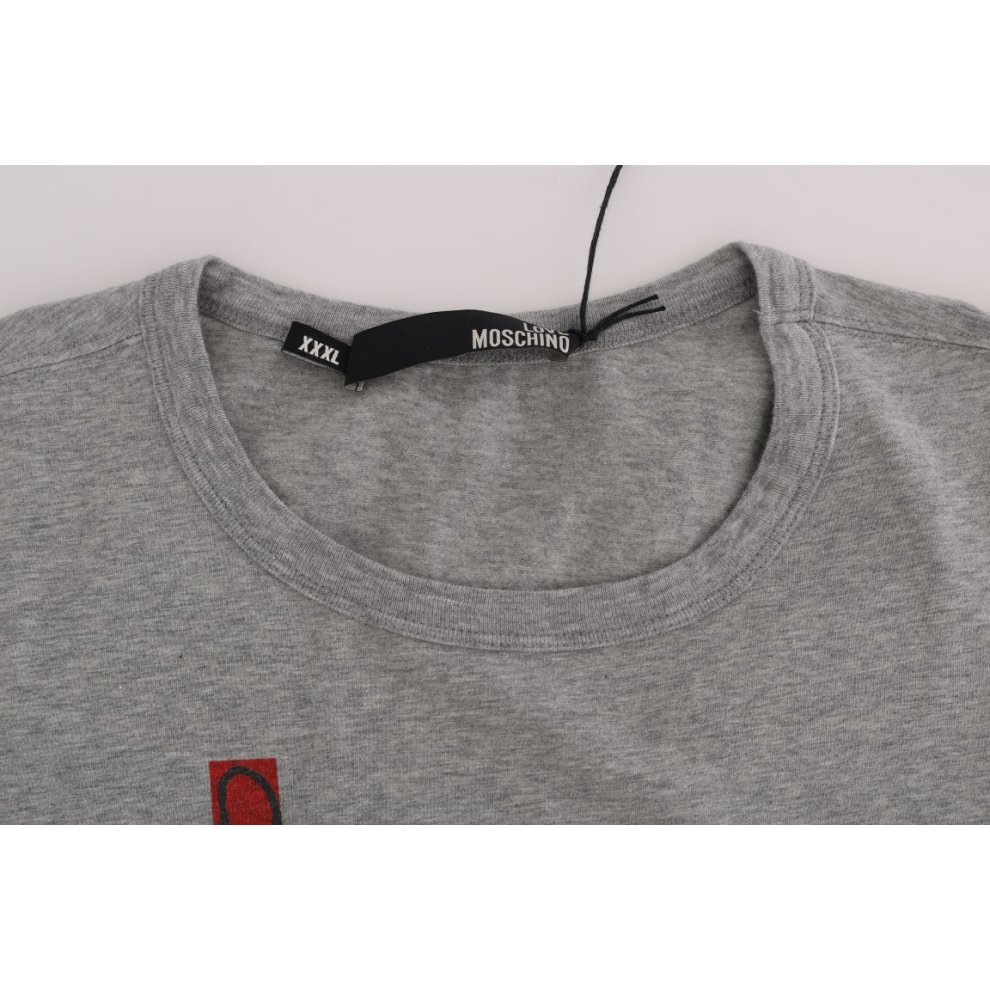 8c84bed52 ... Moschino Gray Motive Print Cotton Stretch T-Shirt - 6. >