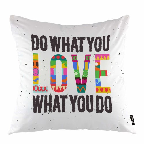 """Melyaxu Letter Throw Pillow Cover Do What You Love Motivation Quotes Decorative Square Pillow Case 18""""X18"""" Pillowcase Home Decor for Sofa Bedroom"""