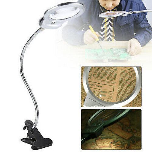 LED-illuminated Clip-on Desk Metal Hose Magnifier Magnifying Glass Loupe UK
