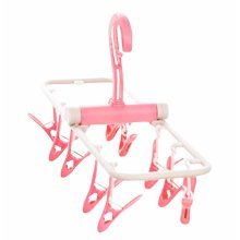 Creative Multifunctional Hanger 10 Clips Foldable Clothing Rack-Pink