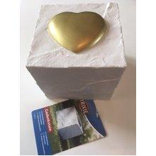 Memorial Stone - White Cube With Gold Heart Design - Trixie Whitedog New -  trixie memorial stone cube heart whitedog new