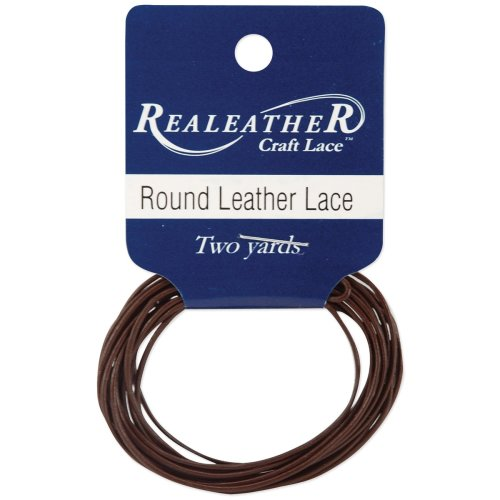 Realeather Crafts Round Leather Lace 1mmX2yd Packaged-Brown