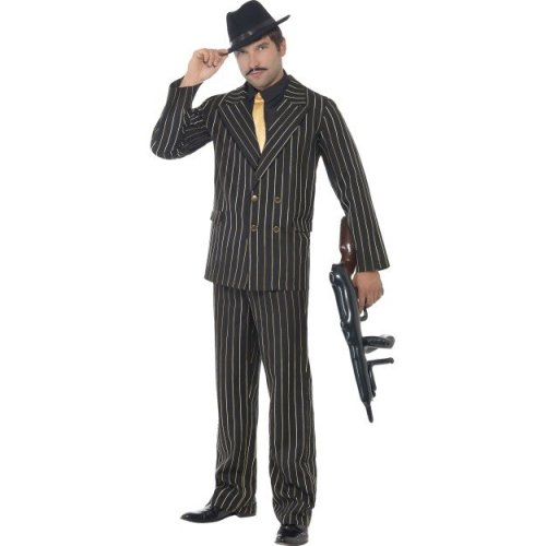 Medium Black & Gold Mens Pinstripe Gangster Suit -  costume mens gold pinstripe gangster fancy dress mafia outfit