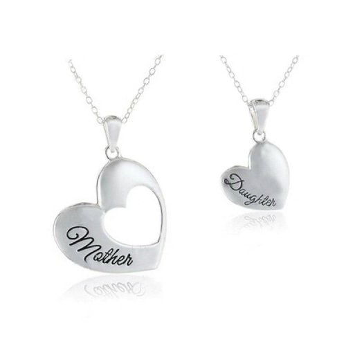 Silver-Tone 'Mother Daughter' Engraved Pendant Necklace 2.5cm Diameter And 1.5cm With Two 18 Inch Chains Heart Family Mum