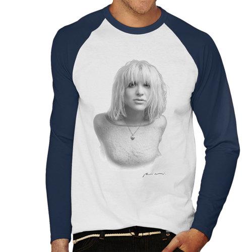 Courtney Love Black And White Portrait 1991 White Men's Baseball Long Sleeved T-Shirt