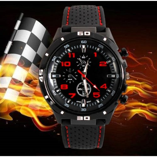 Men or Childrens Kids Boys Analogue Sport Spare Adult F1 GT Watch in Black and Red