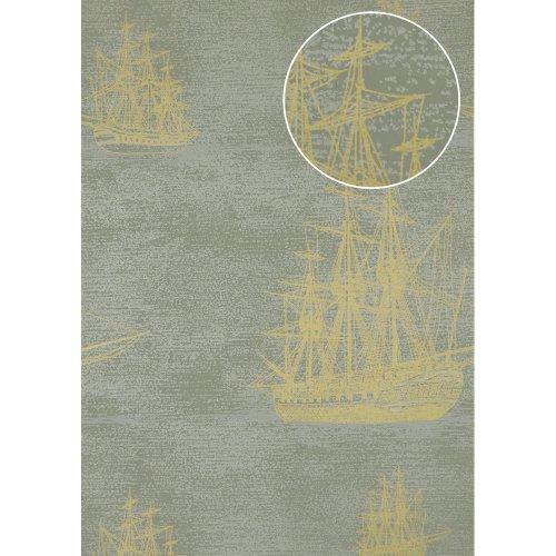 Atlas SIG-584-4 Graphic wallpaper metallic highlights green gold 5.33 sqm