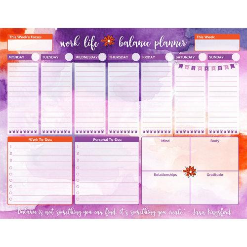 "Work Life Balance To Do Pad 8.5""X11""-Watercolor"