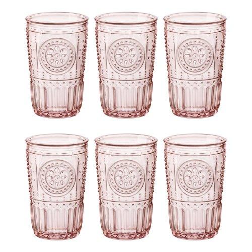 Bormioli Rocco Romantic Highball Glasses Set - Vintage Italian Cut Glass Cocktail Tumblers - 340ml - Pink - Pack of 6