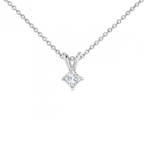 0.755 Carat Princess Cut Diamond Women Pendant White Gold 14K
