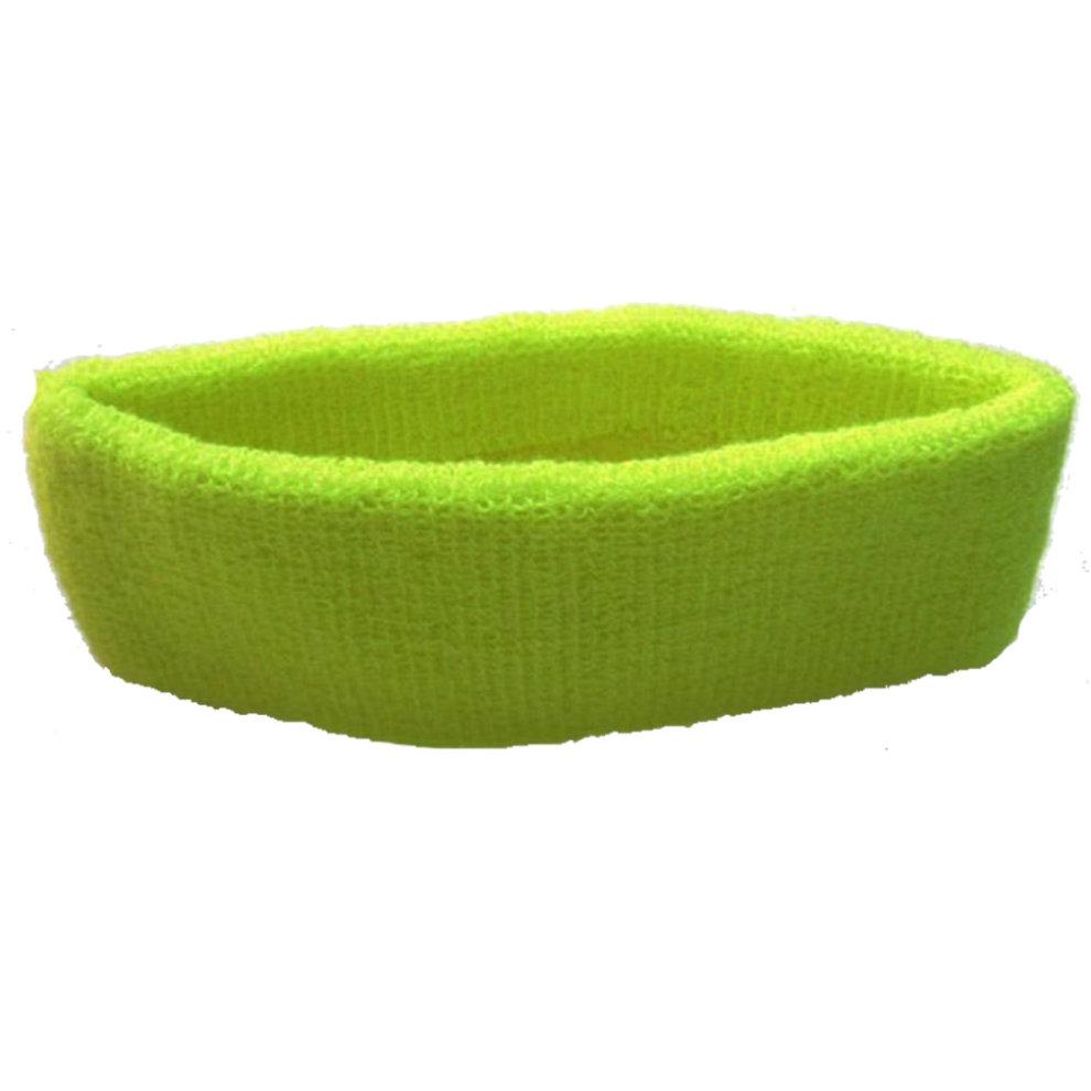 Sports Head Sweat Bands Headbands Unisex 80s Neon Yellow Fitness Sweatbands Gym