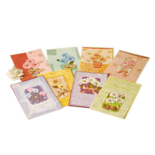 Colorful Exquisite Daisy Series Birthday Gift Cards, Pack Of 8
