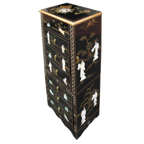 Chinese Black Jewellery Armoire Lacquer Mother Of Pearl Furniture On