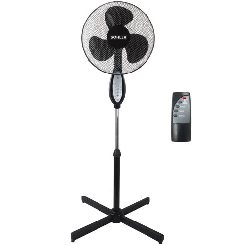 Black Remote Control Standing Pedestal Stand Fan Adjustable Oscillating Rotating