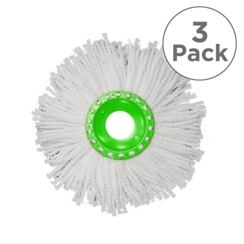 JML Whizz Mop: 3 x Replacement Microfibre Heads, Ultra Absorbent & Machine Washable