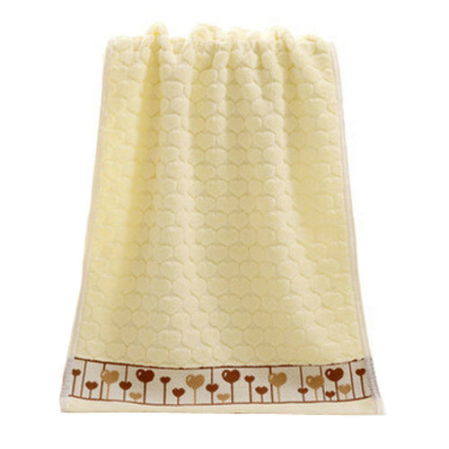 Heart Strong Absorbency Cotton Soft Facecloth Towel Bath Towel,Yellow