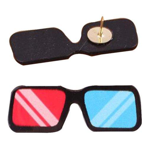 4 Pcs Creative Pushpin Push Pin Thumbtack Office Supplies, Color glasses