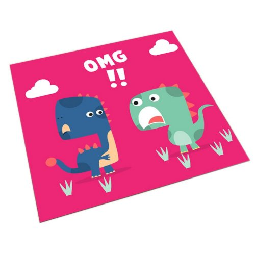 Square Cute Cartoon Children's Rugs, Red And Two Surprised Cartoon Dinosaur