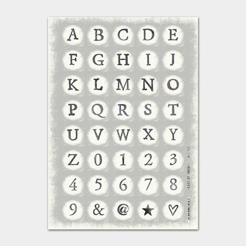 East of India Large Alphabet Stickers A- Z 0-9  x 40 Crafts