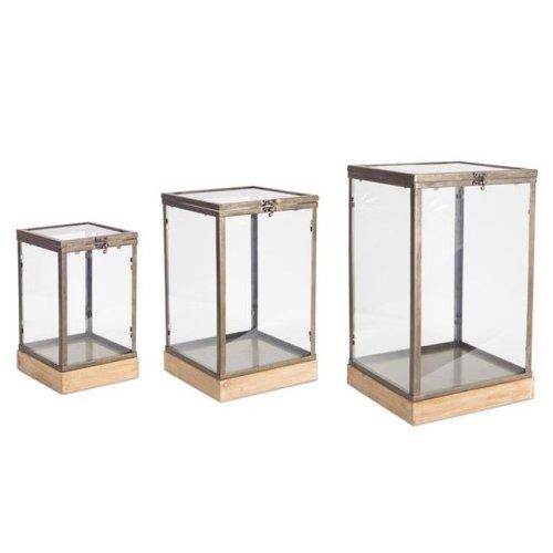 Melrose International 70439 13, 16 & 19.5 in. Cube Glass & Metal, Brown - Set of 3