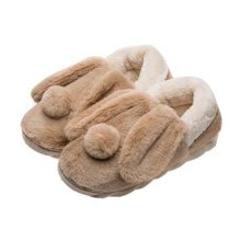 Cute Cartoon Rabbit Plush Slippers Winter Warm Indoor Slippers for Women, BROWN