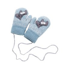 Kids Winter Warm Mittens Plush-lined Gloves With String - Horse, #03