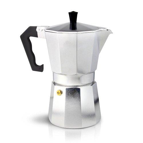 Café Ole 12-Cup Italian Style Aluminium Espresso Coffee Maker, Silver, 480 ml