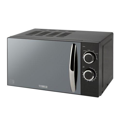 Tower T24009BN Elements Manual Solo Microwave with Mirror Door, 800 W, 20 liters, Black