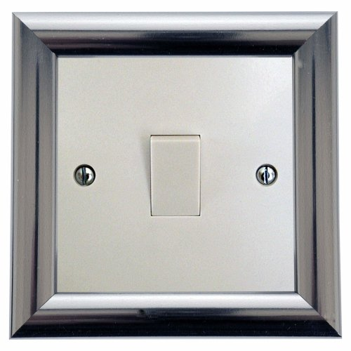 Switch Surround Frame Cover Finger Plate Contemporary Satin Chrome Silver Effect