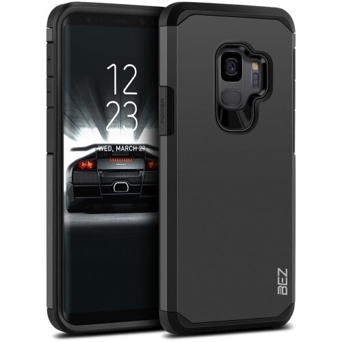 new arrival b0434 2a144 BEZ Samsung S9 Case, Shockproof Cover Shock Absorbing Best Heavy Duty Dual  Layer Tough Armor for Samsung Galaxy S9, Black