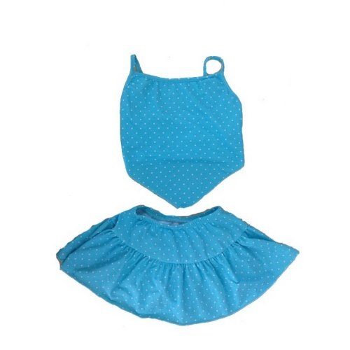 3-6 Years Old Girls Two Piece Swimsuits Blue Dot Swimwear for kid