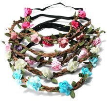 Women Bride Wedding Crown Boho Rose Flower Floral Wreaths Girls Hair Band