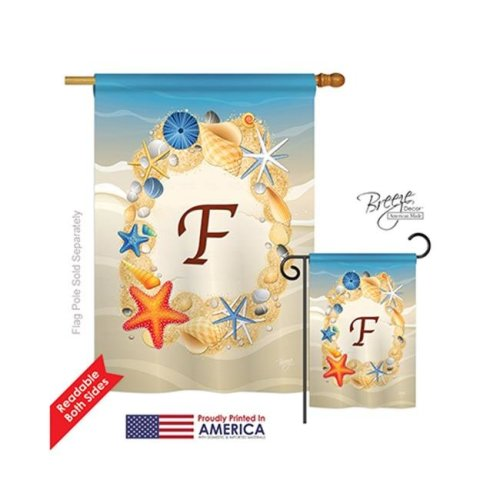Breeze Decor 30162 Summer F Monogram 2-Sided Vertical Impression House Flag - 28 x 40 in.