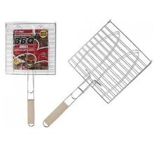 Bbq Grill With Wooden Handle. -  bbq fish grilling trayroast meat vegetable tool wooden handle910007