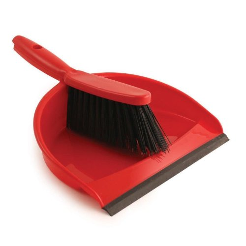 Jantex CC931 Soft Dustpan and Brush Set, 220 mm Wide, Red