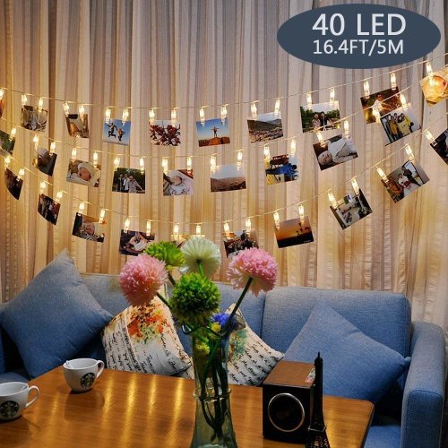 Photo Lights Pegs and String 40 Led Fairy Lights Clips Indoor Battery Powered, Hanging Photo Frames Decorations for Bedroom Wedding Party