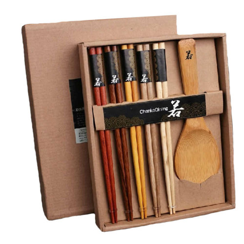 5 pairs Japan Wooden Chopsticks Reusable Chop Stick with Case Natrural Wood