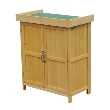 Outsunny Wooden Tool Storage Shed Lift Top Double Doors W/ Shelf 74lx43wx88h(cm)